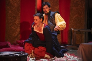 Cardenio production photo - Pippa Nixon as Dorotea and Alex Hassell as Fernando