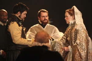 Cardenio production photo - Alex Hassell as Fernando, Christopher Chilton as Priest, Lucy Briggs-Owen as Luscinda
