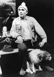 Ken with Werner, his dog, in Recollections of a Furtive Nudist (National Theatre, 1988)