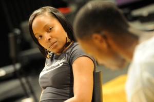 Seroca Davis (Joanne) & Fiston Barek (Kehinde) in rehearsals for Little Baby Jesus