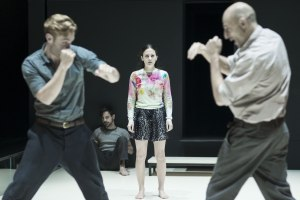 Luke Norris, Emun Elliott, Phoebe Fox and Mark Strong in A View from the Bridge. Photo by Jan Versweyveld