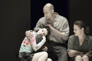 A View from the Bridge: Phoebe Fox (Catherine), Mark Strong (Eddie) and Nicola Walker (Beatrice). Photo by Jan Versweyveld