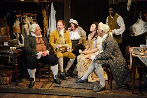 Mr Foote's Other Leg at Hampstead Theatre. Simon Russell Beale (Samuel Foote), Ian Kelly (Prince George), Jenny Galloway (Mrs Garner), Dervla Kirwan (Peg Woffington), Joseph Millson (David Garrick) and Micah Balfour (Frank Barber) © Nobby Clark