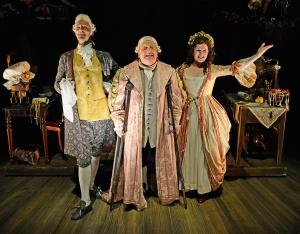 Joseph Millson (David Garrick), Simon Russell Beale (Samuel Foote) and Dervla Kirwan (Peg Woffington) © Nobby Clark
