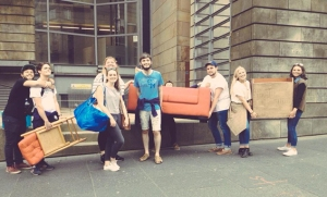 Transporting the set for Forever House through Edinburgh