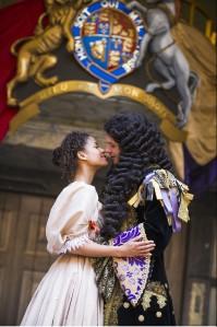 Gugu Mbatha-Raw as Nell and David Sturzaker as Charles II. Photo by Tristram Kenton