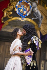 Gugu Mbatha-Raw as Nell and David Sturzaker as Charles II. Photo by Tristram Kenton