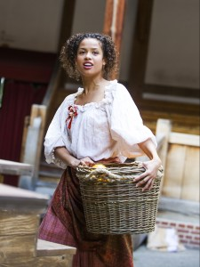 Gugu Mbatha-Raw as Nell in Nell Gwynn by Jessica Swale at Shakespeare's Globe. Photo by Tristram Kenton