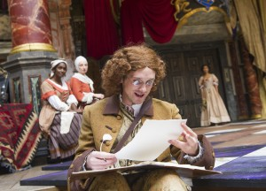 Graham Butler as John Dryden in the Shakespeare's Globe production. Photo by Tristram Kenton