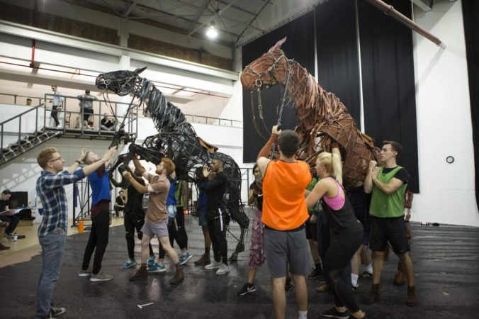 The cast of War Horse in rehearsals